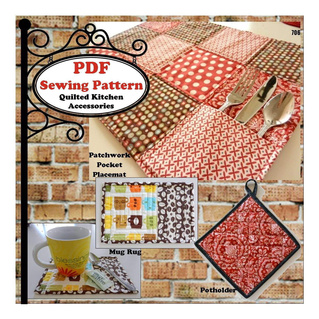 Quilted Kitchen Accessories PDF Pattern by MaggieElizDesigns