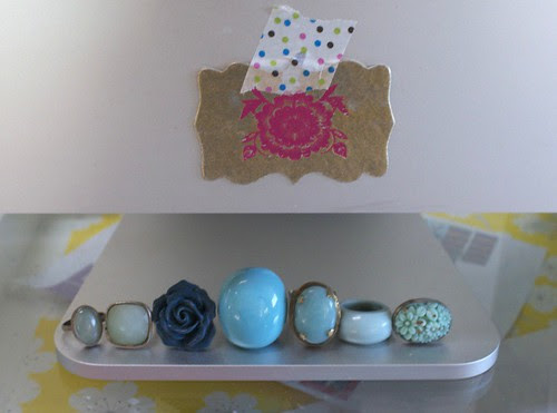 ring collection in shades of blue