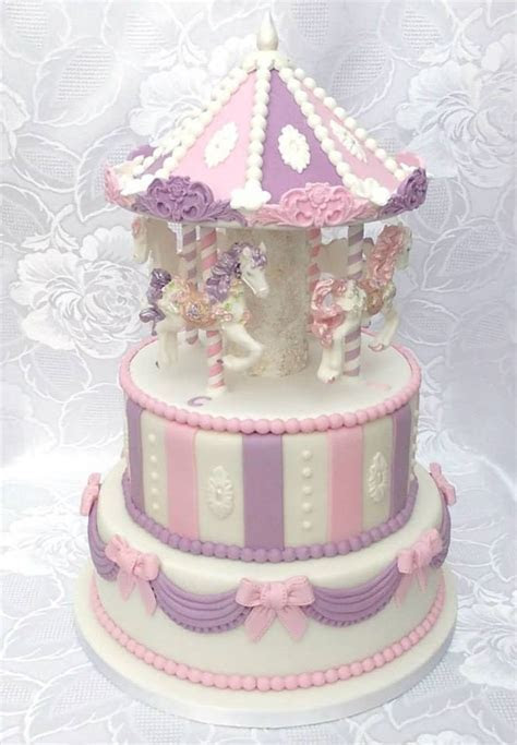 Carousel Christening Cake 2 Tier Cake With Edible