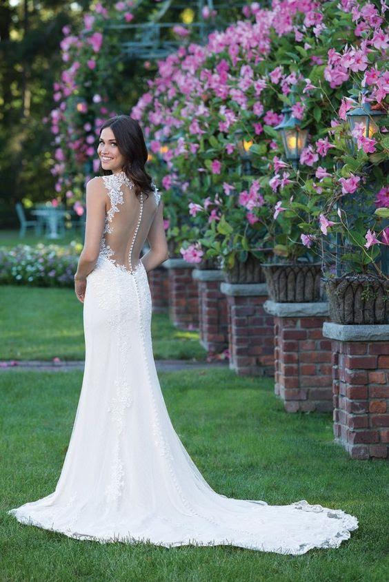 Spitze Meerjungfrau Hochzeitskleid mit illusion zurück und ein button-Zeile