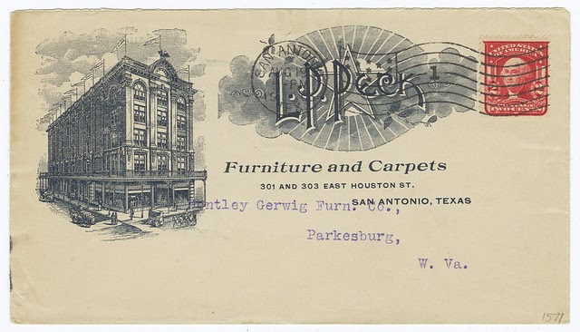 stamped, envelope with printed 1905 illustration for furniture carpet business