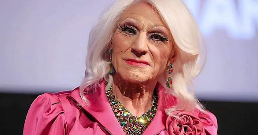 Sir Patrick Stewart cosplaying as Kellyanne Conway.