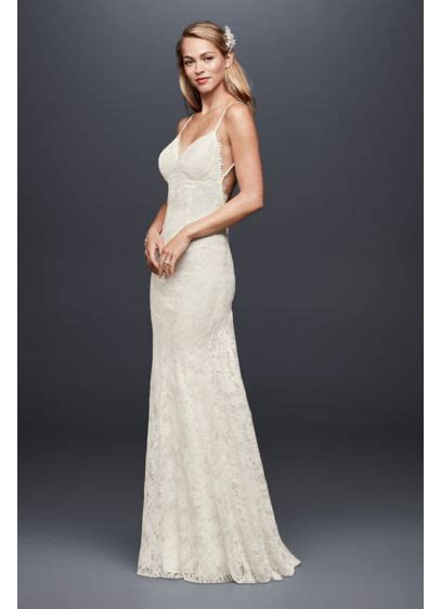 Soft Lace Sheath Wedding Dress with Low Back   David's Bridal