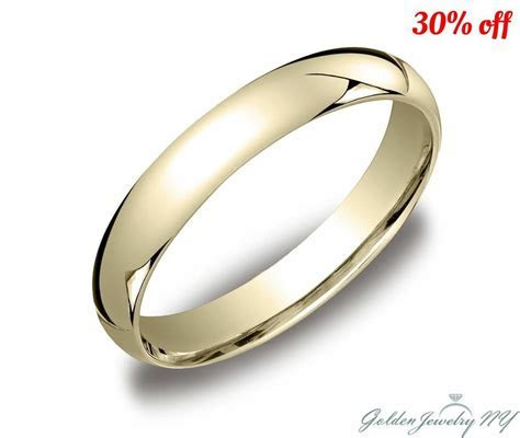 Mens Women Solid 10K Yellow Gold Plain Wedding Band