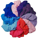 threddies Cotton Scrunchies (Pink, Purple, Blue Assortment), 10 Piece Pack