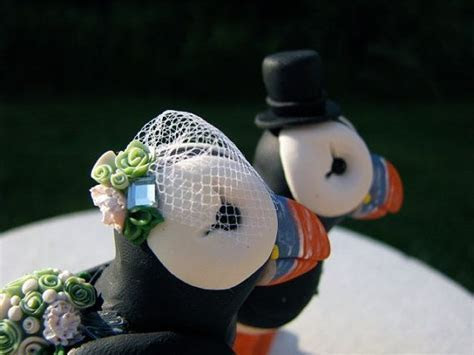 RESERVED Puffin Love custom wedding cake topper   Wedding