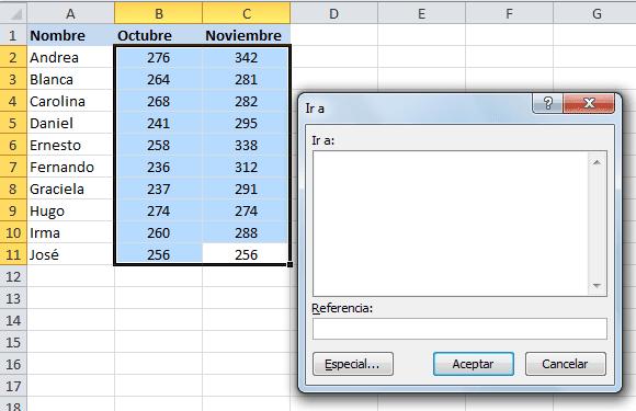 Cuadro de diálogo Ir a en Excel