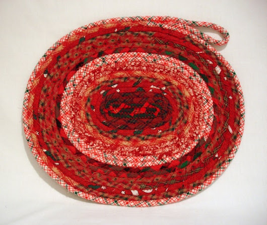 Rustic Red Christmas Coiled Fabric Candle Mat Table by zizzybob