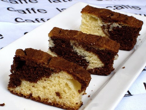 Chocolate And Vanila (white) Flavour Marble Cake Recipe