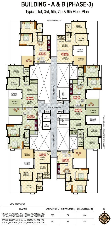 Neo City - Phase 3, 2 BHK Flats, behind Jain College Bakori Road, Wagholi, Pune 412207 - B Building - Odd Floors