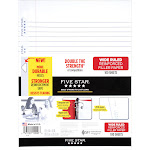 "Five Star Reinforced White Wide-Rule Filler Paper, 8"" x 10-1/2"", 100 Sheets (15106)"