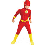 Rubies DC Comics Deluxe Muscle Chest The Flash Toddler Halloween Costume, Red/Yellow