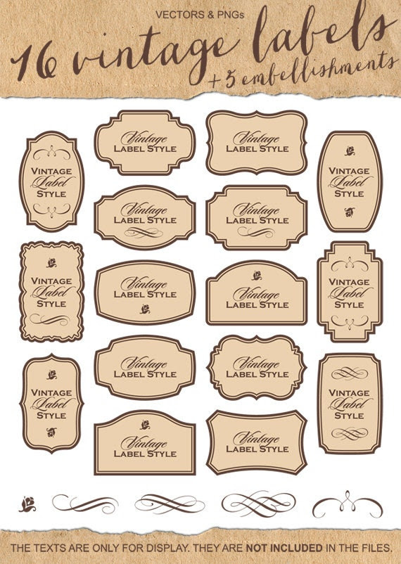 CLIPART 16 Vintage Labels Clip Art Digital Supplies by milalala