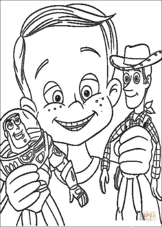 Andy har Buzz Lightyear och sheriff Woody Målarbok ...