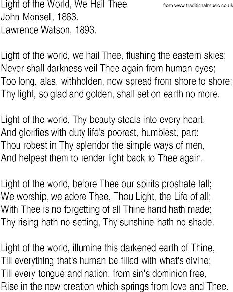 We Are The Light Of The World Lyrics