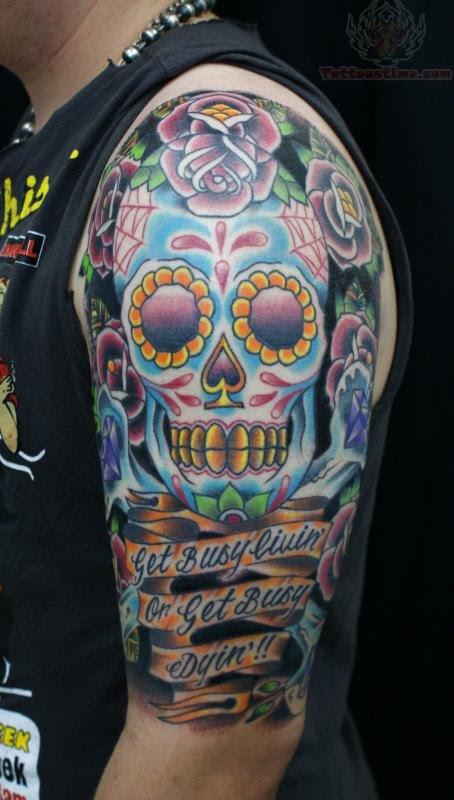 Half Sleeve Sugar Skull Tattoo On Girl