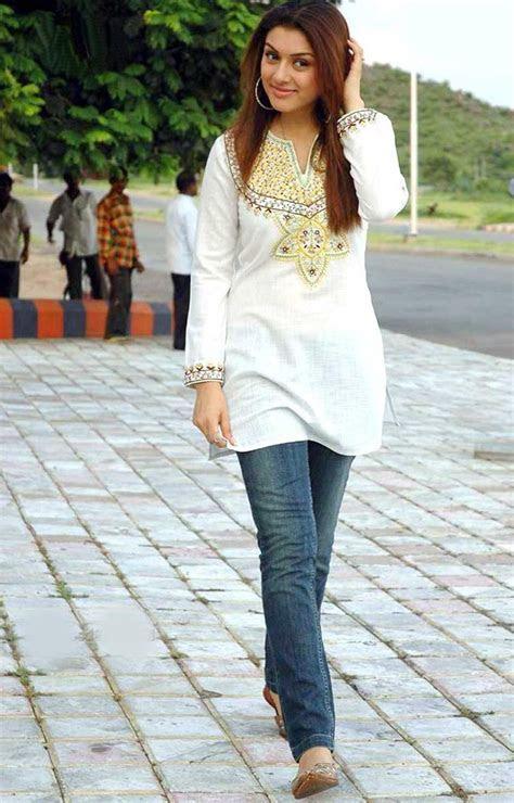 Hansika Motwani Jeans Fancy Short Kurta   SheClick.com