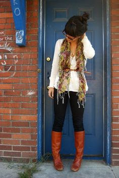 Fall fashion ... Love this belt over scarf thing!!