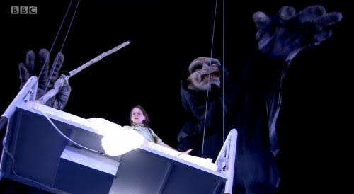 2012 London Olympic Ceremonies: a young girl is lifted in the air by a gigantic Lord Voldemort.