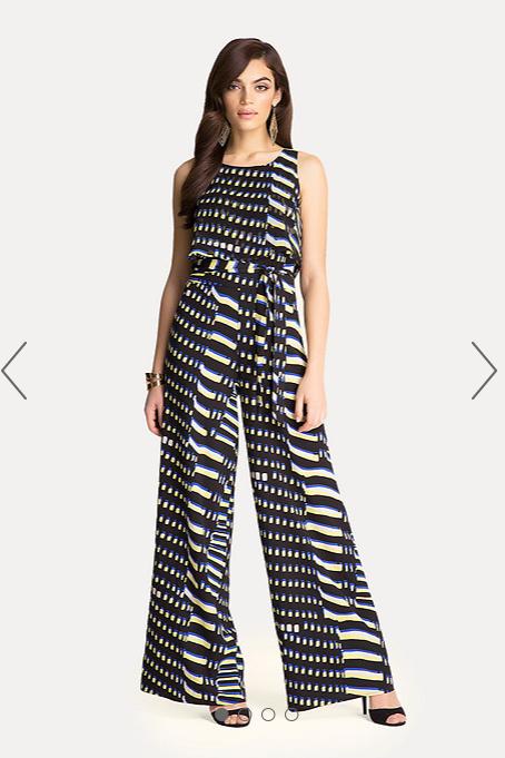 Bebe Print Tie Waist Jumpsuit