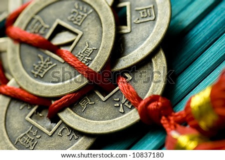 stock photo : detail of chinese lucky coins