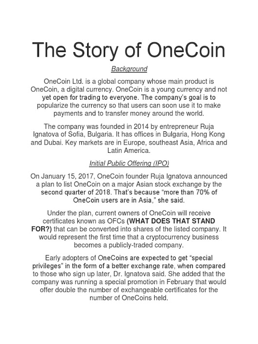The Story of OneCoin | Blockchain (Database) | Cryptocurrency