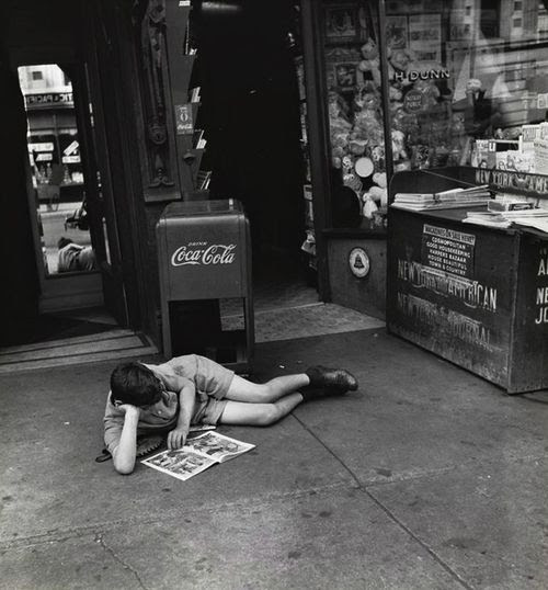 John Albok Boy Reading Comics in Front of Newspaper Store, Madison Avenue Between 96th and 97th Streets, New York City c.1933