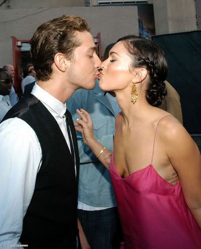 Megan Fox and Shia LaBeouf pretend to liplock at an awards ceremony earlier this year.