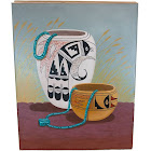 $350 Navajo Pottery Certified Authentic Painted by Acrylic Native American Painting 10802-4