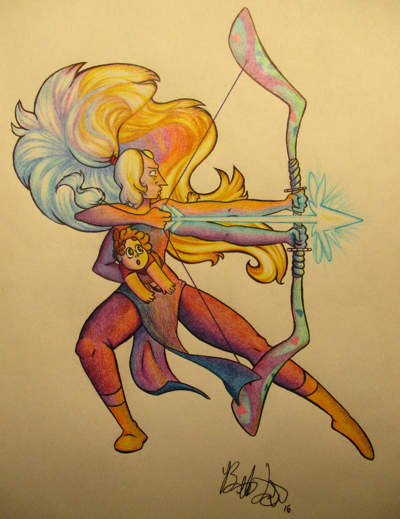 A Christmas present for a friend. Steven Universe's Opal, done in ballpoint pen and colored pencils