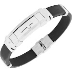 Stainless Steel Black Rubber Silicone Silver Gold-Tone Cross Mens Bracelet