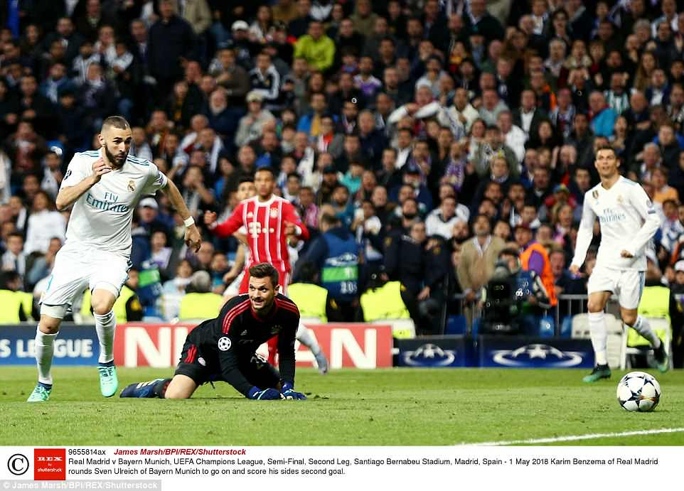 Bayern Munich goalkeeper Ulreich can only watch as Benzema latches onto the loose ball after he failed to clear it