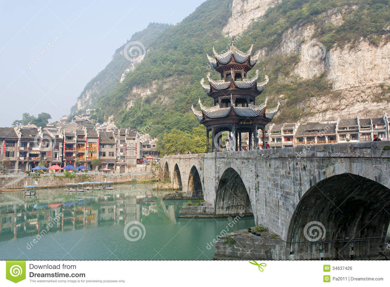 zhenyuan ancient town guizhou china zhengyuan october zhengyuan old country province tower river bridge located 34637426