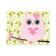 Baby Girl Nursery Owl Canvas Print