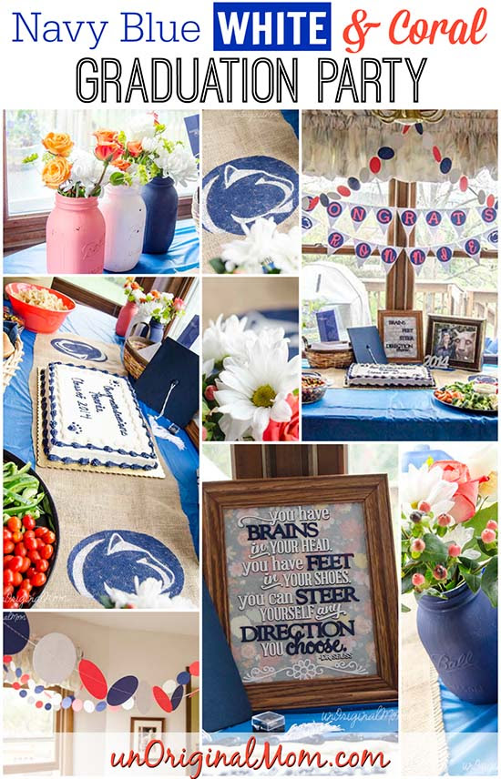 Navy Blue White And Coral Graduation Party Unoriginal Mom