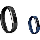 Zodaca Soft TPU Rubber Adjustable Wristbands Watch Band Strap for Fitbit Alta HR / Alta Small Size - Black + Navy