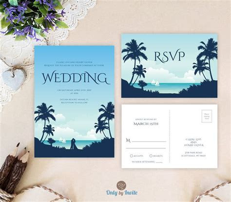 Destination wedding invitations with RSVP card printed