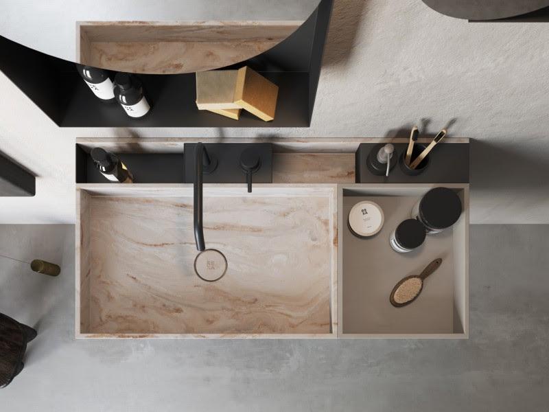 Compact Living Baño Corian lavabo design