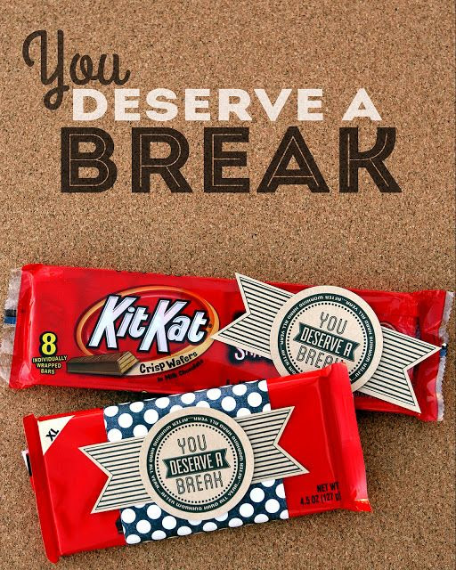 You deserve a break gift, candy bar gift, candy bar teacher gift, inexpensive teacher appreciation gift, cheap teacher appreciation, coach gift, testing gift