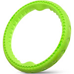 Fluffy Paws Durable Flexible TPR Rubber Foam Pet Wheel Ring Dog Chew Toy (Green/Large)