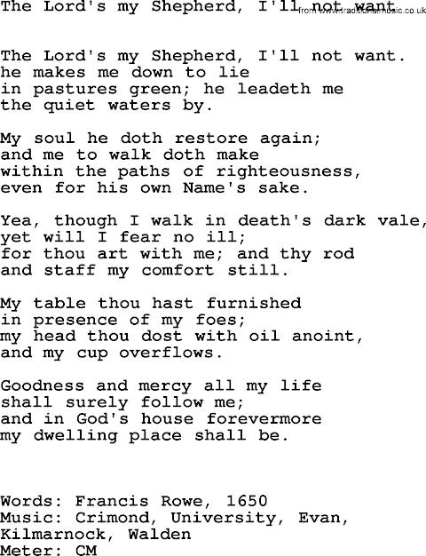 The Lord Is My Shepherd Lyrics Modern