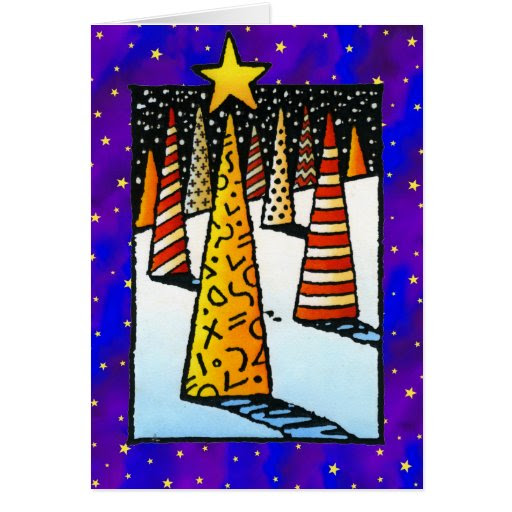 Modern Pattern Christmas Trees and Golden Stars Greeting Cards