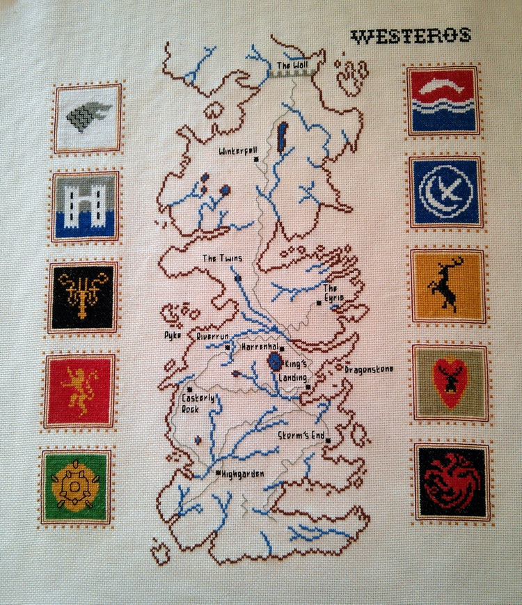 Cross Stitched Map of Westeros with House Sigils by RandomlyGenerated