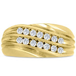 Men's 1/2 Carat 14 Diamond Wedding Band in 14K Yellow Gold, -K, I1-I2, 10.76mm Wide, Size 11 by SuperJeweler