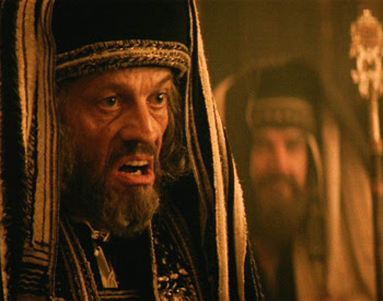 an angry Pharisee from the film 'Passion of Christ'