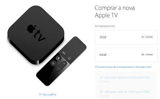 Nova Apple TV custará R$ 1350 ou R$ 1750, 32GB/64GB, vendas iniciadas - CocaTech