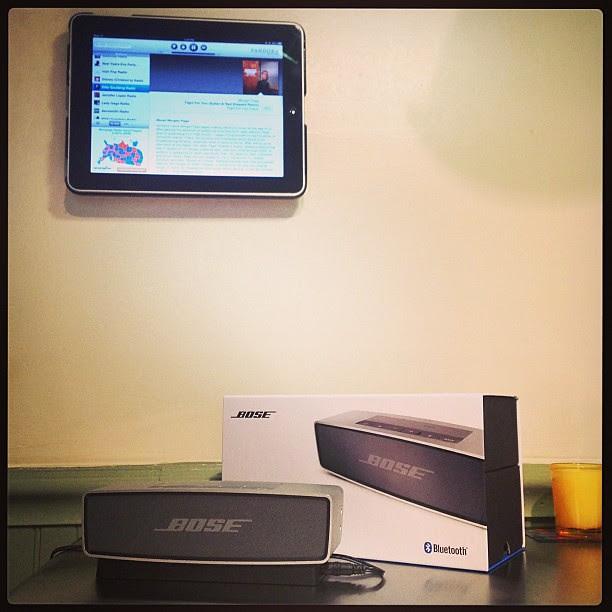 Bose SoundLink Mini playing Pandora via Bluetooth from wall mounted iPad. ;-)