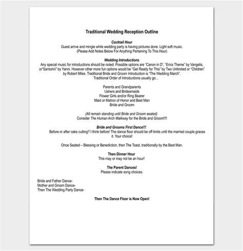 Wedding Outline Template   13  For Word, and PDF Format