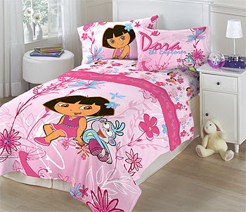 Floral Dora the Explorer Twin Bed Sheets - 3pc Bedding Sheet Set
