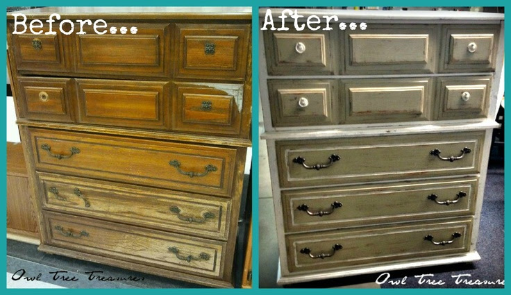 Here's a fun Before and After shot of a dresser I finished up! I love how this turned out! Fresh paint, fixed a few drawers, fixed the hardware and added some new hardware also! Such a fun piece of furniture!